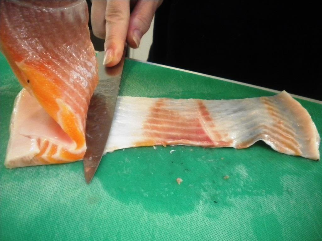 Salmon Bacon remove Skin