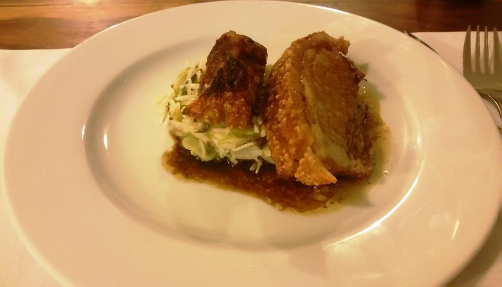 Roast Pork Belly with Maple Jus on Fennel salad